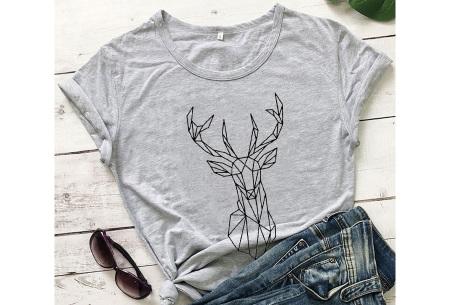 Geometric T-shirt | Dames shirts met verschillende gave prints Hert - Grijs