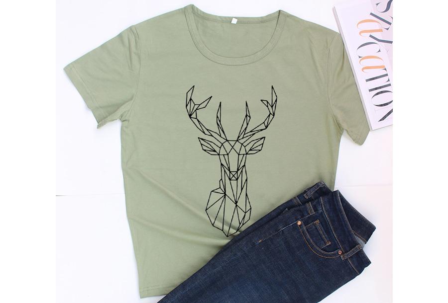 Geometric T-shirt - Maat XS - Hert - Groen