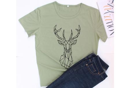 Geometric T-shirt | Dames shirts met verschillende gave prints Hert - Groen