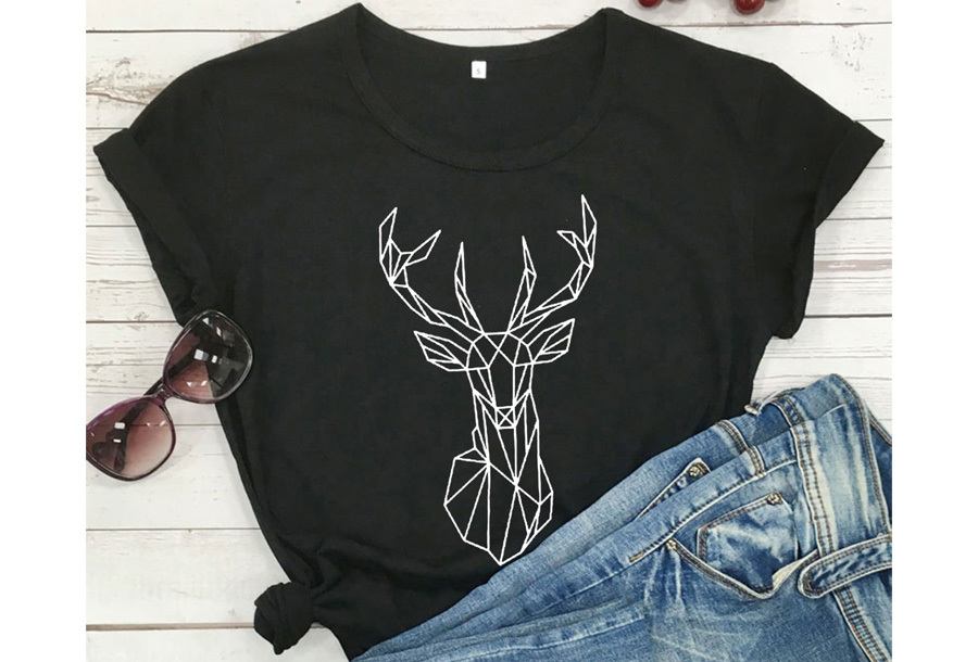 Geometric T-shirt - Maat XL - Hert - Zwart