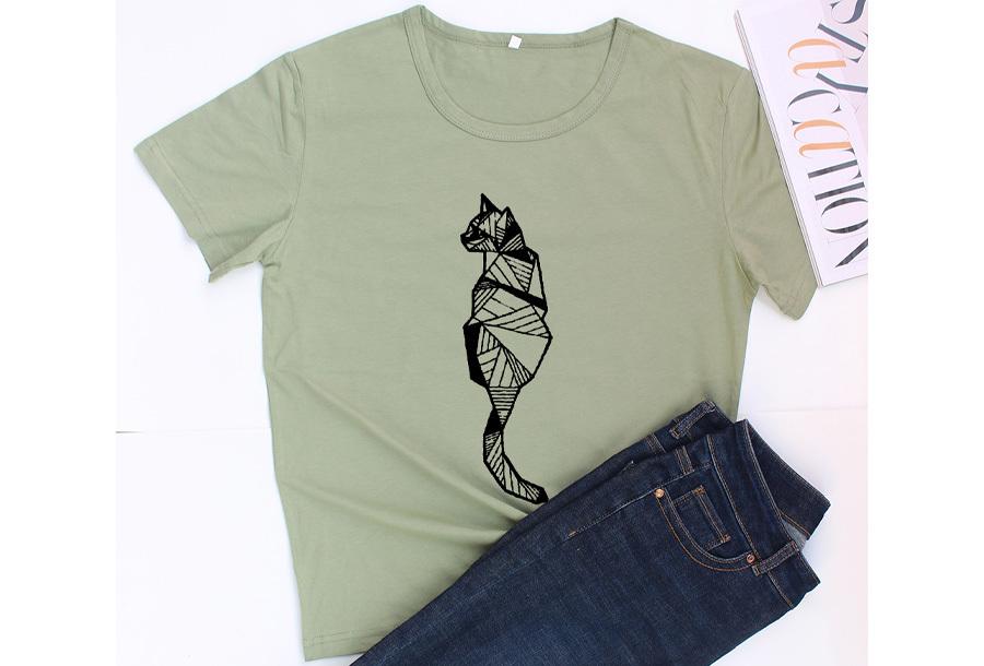 Geometric T-shirt - Maat M - Kat - Groen