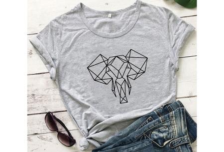 Geometric T-shirt | Dames shirts met verschillende gave prints Olifant - Grijs