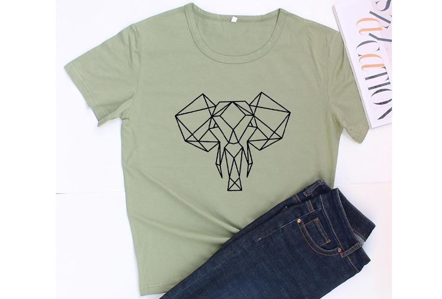 Geometric T-shirt - Maat L - Olifant - Groen