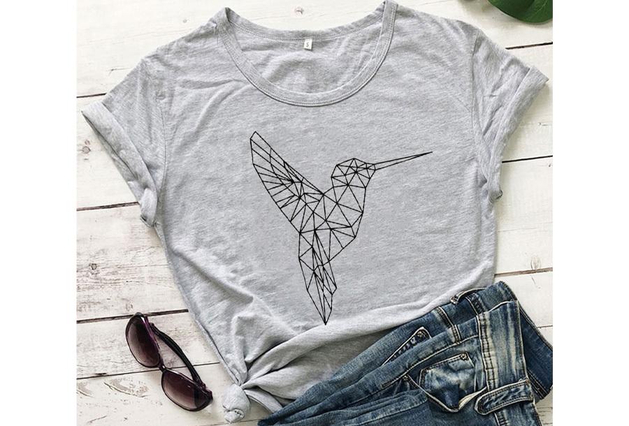 Geometric T-shirt - Maat L - Kolibrie - Grijs