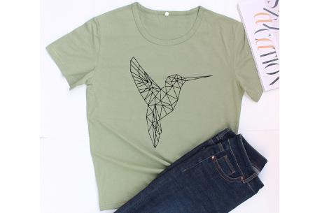 Geometric T-shirt | Dames shirts met verschillende gave prints Kolibrie - Groen