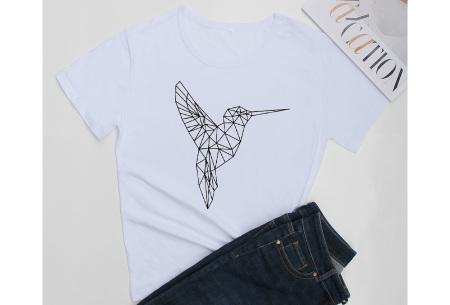 Geometric T-shirt | Dames shirts met verschillende gave prints Kolibrie - Wit