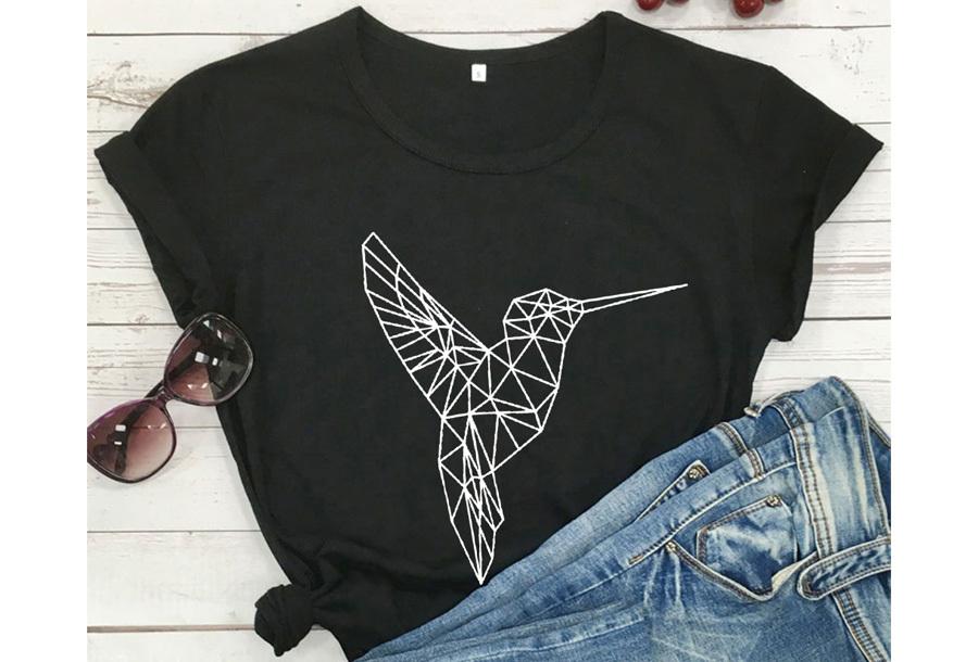 Geometric T-shirt - Maat L - Kolibrie - Zwart