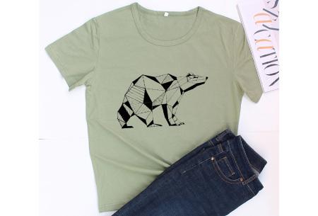 Geometric T-shirt | Dames shirts met verschillende gave prints Ijsbeer - Groen