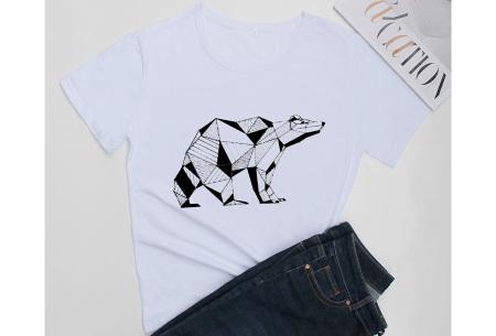 Geometric T-shirt | Dames shirts met verschillende gave prints Ijsbeer - Wit