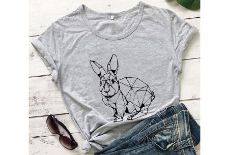 Geometric T-shirt | Dames shirts met verschillende gave prints Konijn - Grijs