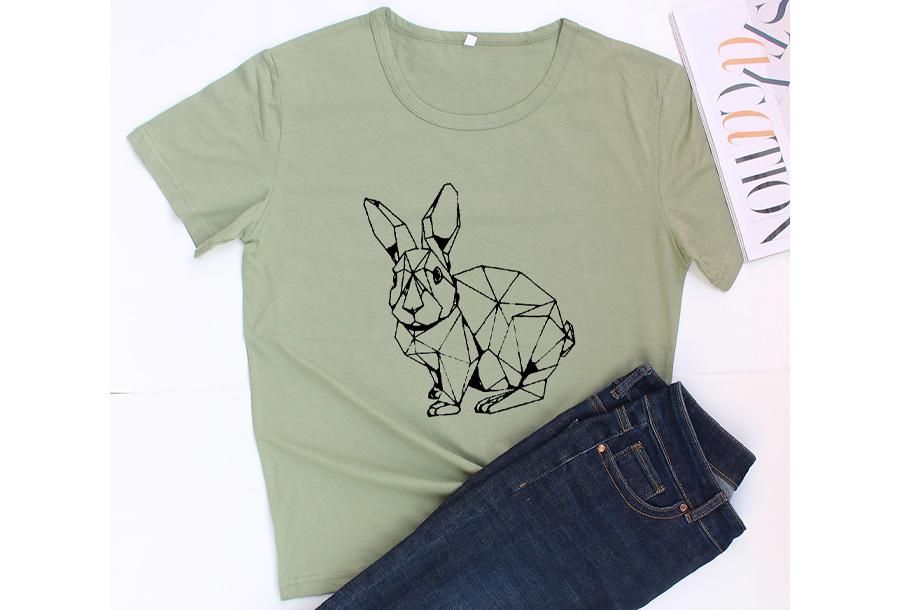 Geometric T-shirt - Maat M - Konijn - Groen