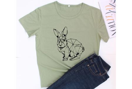 Geometric T-shirt | Dames shirts met verschillende gave prints Konijn - Groen