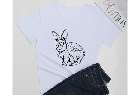 Geometric T-shirt | Dames shirts met verschillende gave prints Konijn - Wit