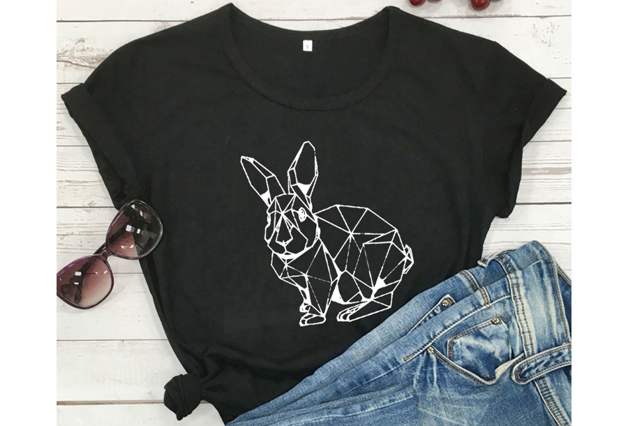Geometric T-shirt - Maat XL - Konijn - Zwart