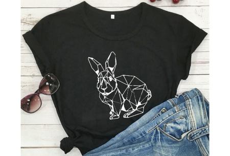Geometric T-shirt | Dames shirts met verschillende gave prints Konijn - Zwart