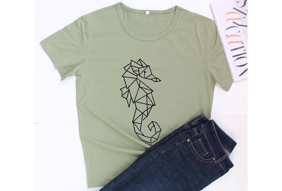 Geometric T-shirt - Maat XS - Zeepaardje - Groen