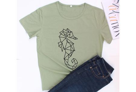 Geometric T-shirt | Dames shirts met verschillende gave prints Zeepaardje - Groen