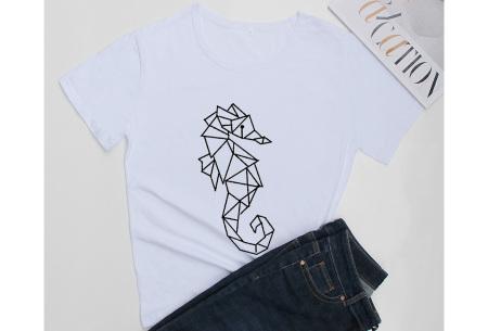 Geometric T-shirt | Dames shirts met verschillende gave prints Zeepaardje - Wit