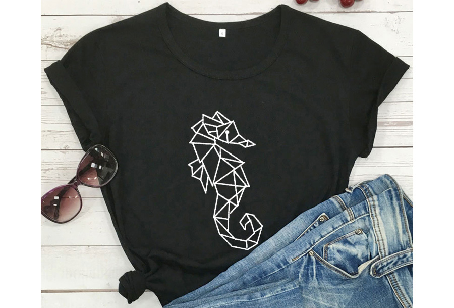 Geometric T-shirt - Maat M - Zeepaardje - Zwart