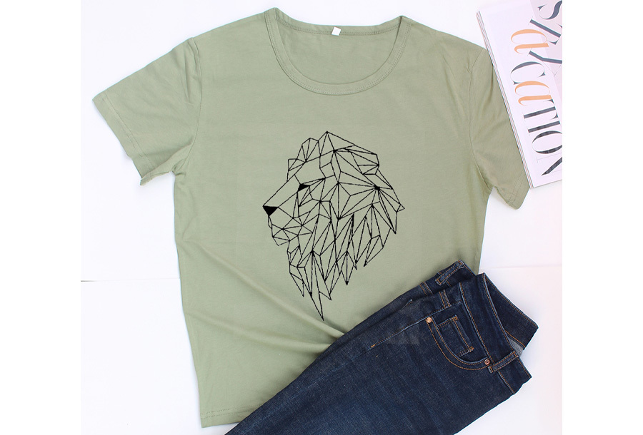 Geometric T-shirt - Maat L - Leeuw - Groen