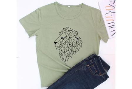Geometric T-shirt | Dames shirts met verschillende gave prints Leeuw - Groen
