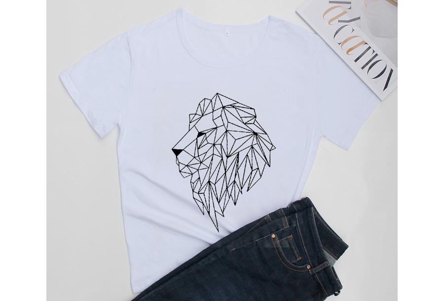 Geometric T-shirt - Maat M - Leeuw - Wit