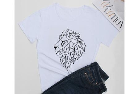 Geometric T-shirt | Dames shirts met verschillende gave prints Leeuw - Wit