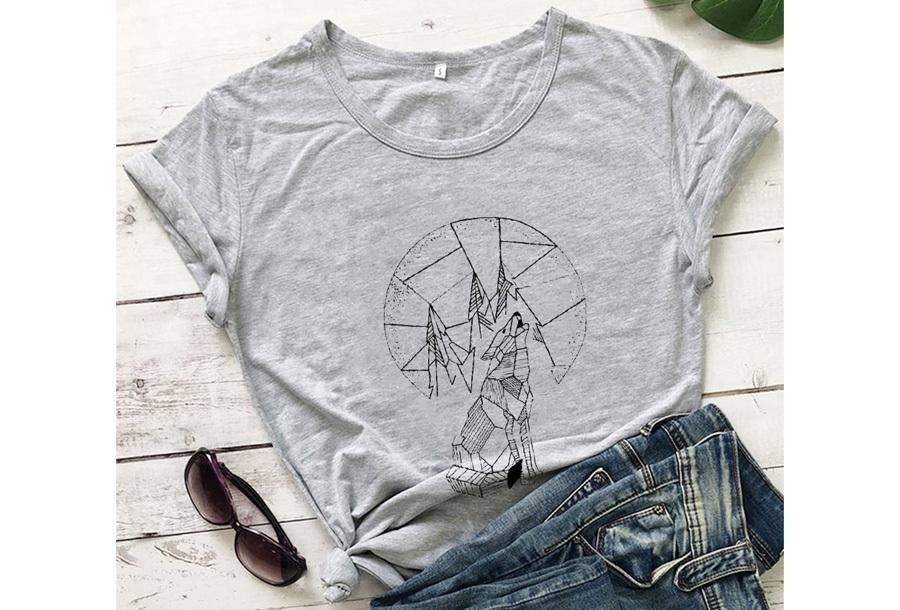 Geometric T-shirt - Maat M - Wolf - Grijs
