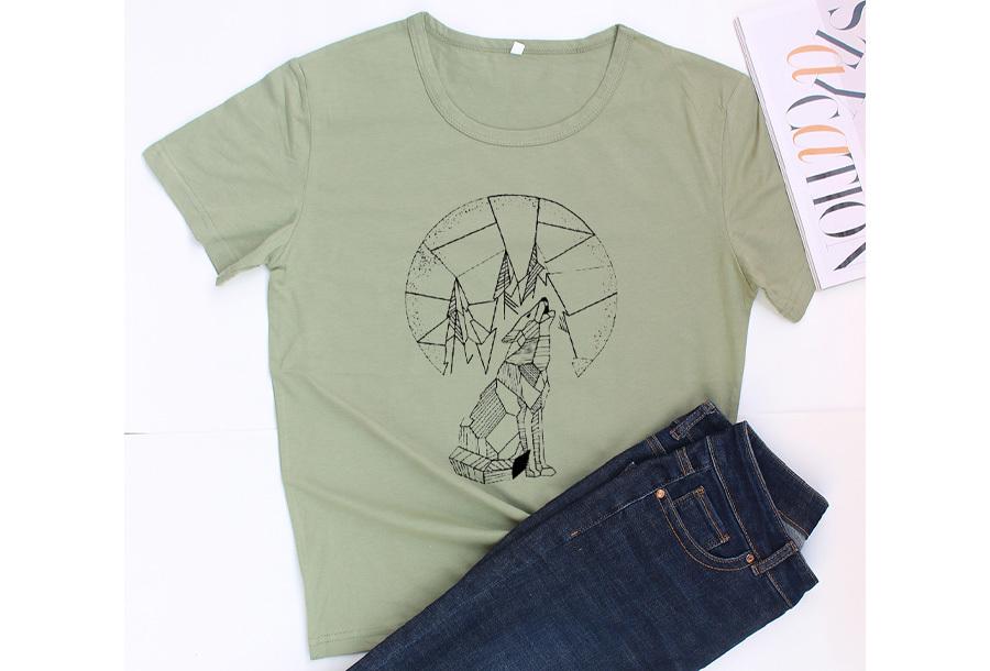 Geometric T-shirt - Maat L - Wolf - Groen