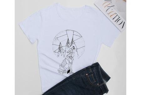 Geometric T-shirt | Dames shirts met verschillende gave prints Wolf - Wit