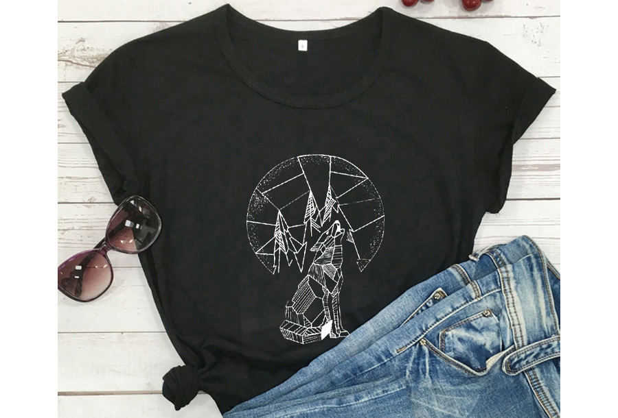 Geometric T-shirt - Maat L - Wolf - Zwart