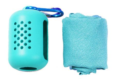 Verkoelende handdoek   Compacte sporthanddoek in koker