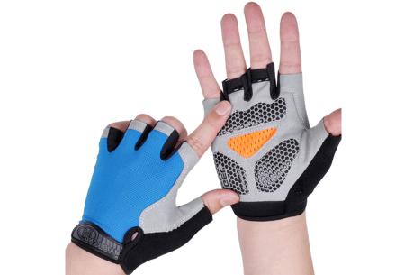 Fietshandschoenen met of zonder gel   Handschoenen zonder toppen voor dames & heren Blauw - met gel