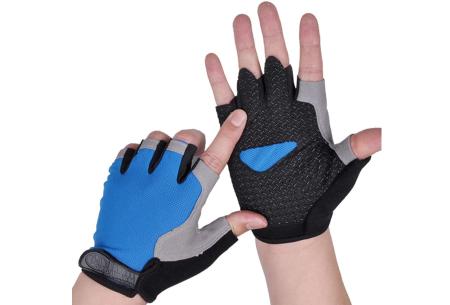 Fietshandschoenen met of zonder gel   Handschoenen zonder toppen voor dames & heren Blauw - zonder gel