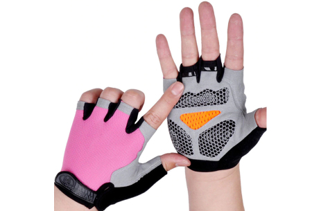 Fietshandschoenen met of zonder gel   Handschoenen zonder toppen voor dames & heren Roze - met gel