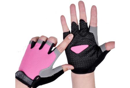 Fietshandschoenen met of zonder gel   Handschoenen zonder toppen voor dames & heren Roze - zonder gel