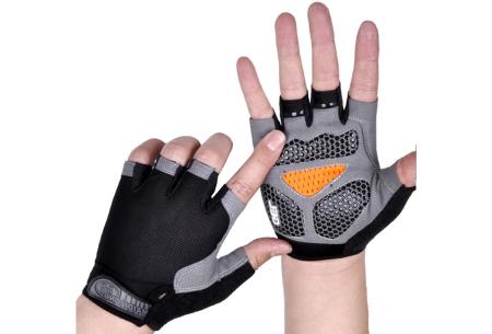 Fietshandschoenen met of zonder gel   Handschoenen zonder toppen voor dames & heren Zwart - met gel