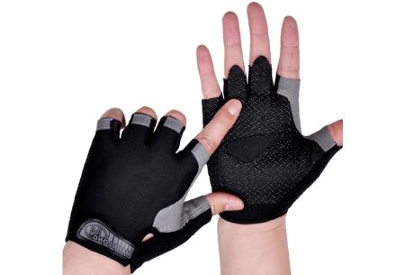 Fietshandschoenen met of zonder gel   Handschoenen zonder toppen voor dames & heren Zwart - zonder gel