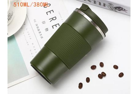 Thermosbeker | Rvs koffiebeker in twee formaten! Legergroen