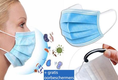 Mondkapjes 100 of 200 stuks met gratis oorbeschermers   Niet-medische mondmaskers - nu nog lager in prijs!