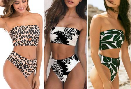 Bandeau bikini   High waist bikini in 12 prints