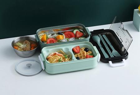 Multifunctionele lunchbox | Lunchtrommel met bestek - in 3 kleuren