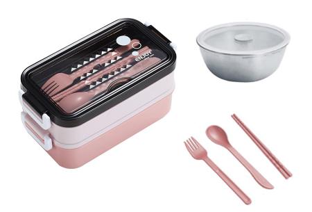Multifunctionele lunchbox | Lunchtrommel met bestek - in 3 kleuren #2 - Roze
