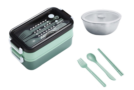 Multifunctionele lunchbox   Lunchtrommel met bestek - in 3 kleuren #2 - Groen