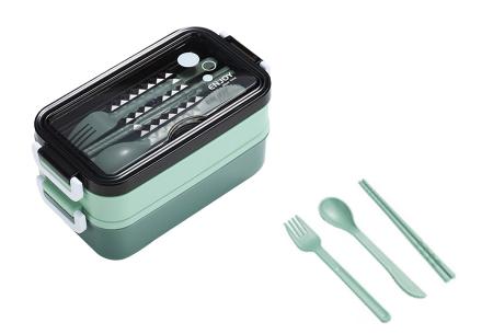 Multifunctionele lunchbox   Lunchtrommel met bestek - in 3 kleuren #1 - Groen