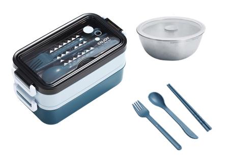 Multifunctionele lunchbox | Lunchtrommel met bestek - in 3 kleuren #2 - Blauw