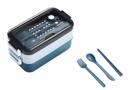 Multifunctionele lunchbox | Lunchtrommel met bestek - in 3 kleuren #1 - Blauw