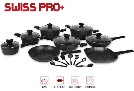33-delige Swiss Pro+ pannenset   Koekenpan, kookpan, wokpan en meer