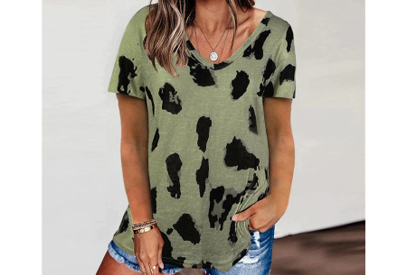 Leopard shirt   Dames T-shirt met korte mouwen Groen