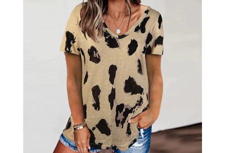 Leopard shirt   Dames T-shirt met korte mouwen Khaki